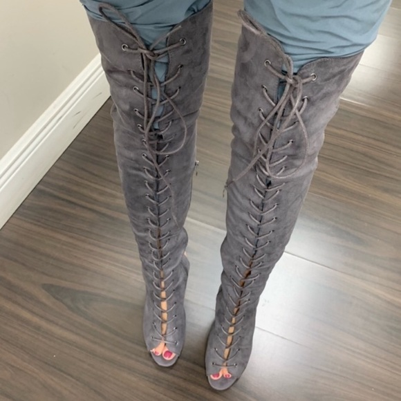 Betani Shoes | Gray Lace Up Thigh High